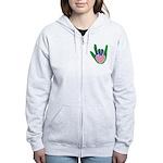 Green/Pink Heart ILY Hand Women's Zip Hoodie