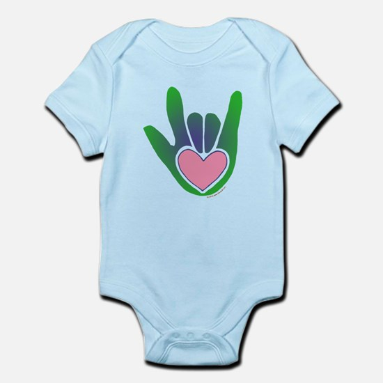 Green/Pink Heart ILY Hand Infant Bodysuit