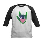 Green/Pink Heart ILY Hand Kids Baseball Jersey