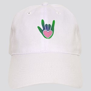 Green/Pink Heart ILY Hand Cap
