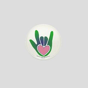 Green/Pink Heart ILY Hand Mini Button