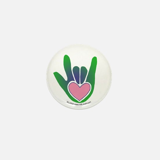 Green/Pink Heart ILY Hand Mini Button