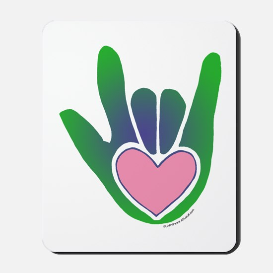 Green/Pink Heart ILY Hand Mousepad