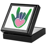 Green/Pink Heart ILY Hand Keepsake Box