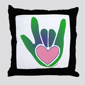 Green/Pink Heart ILY Hand Throw Pillow