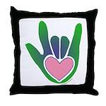 Green/Pink Heart ILY Hand Throw Pillow