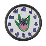 Green/Pink Heart ILY Hand Large Wall Clock