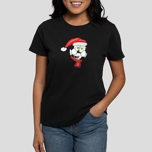 Christmas Soccer Ball Smiley Women's Dark T-Shirt