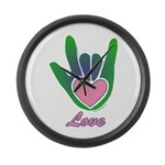 Green/Pink Love Hand Large Wall Clock