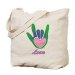 Green/Pink Love Hand Tote Bag