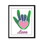 Green/Pink Love Hand Framed Panel Print