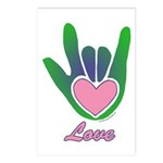 Green/Pink Love Hand Postcards (Package of 8)