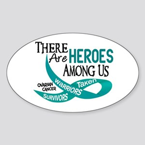 Heroes Among Us OVARIAN CANCER Oval Sticker