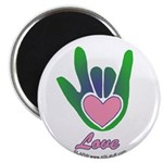 Green/Pink Love Hand Magnet