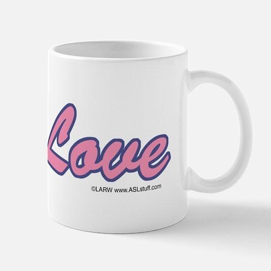 Green/Pink Love Hand Mug