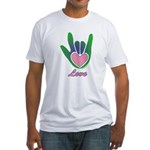 Green/Pink Love Hand Fitted T-Shirt