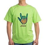 Blue Glass Love Hand Green T-Shirt
