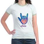 Blue Glass Love Hand Jr. Ringer T-Shirt