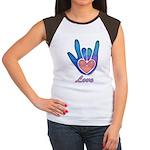 Blue Glass Love Hand Women's Cap Sleeve T-Shirt