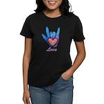 Blue Glass Love Hand Women's Dark T-Shirt