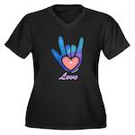 Blue Glass Love Hand Women's Plus Size V-Neck Dark