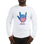 Blue Glass Love Hand Long Sleeve T-Shirt