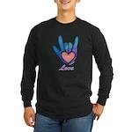 Blue Glass Love Hand Long Sleeve Dark T-Shirt