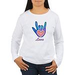 Blue Glass Love Hand Women's Long Sleeve T-Shirt