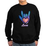 Blue Glass Love Hand Sweatshirt (dark)