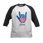 Blue Glass Love Hand Kids Baseball Jersey