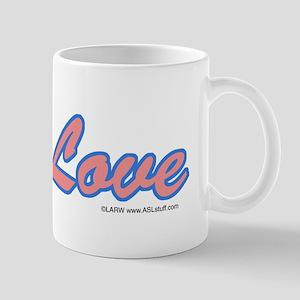 Blue Glass Love Hand Mug