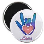 Blue Glass Love Hand Magnet