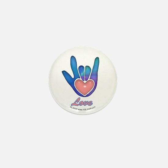 Blue Glass Love Hand Mini Button