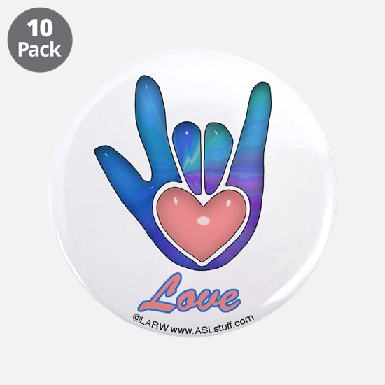 "Blue Glass Love Hand 3.5"" Button (10 pack)"