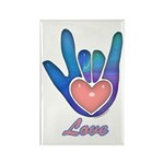 Blue Glass Love Hand Rectangle Magnet (10 pack)