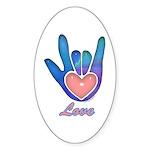 Blue Glass Love Hand Oval Sticker (10 pk)