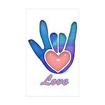 Blue Glass Love Hand Rectangle Sticker 50 pk)