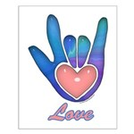 Blue Glass Love Hand Small Poster