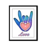 Blue Glass Love Hand Framed Panel Print