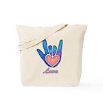 Blue Glass Love Hand Tote Bag