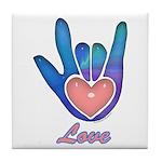 Blue Glass Love Hand Tile Coaster