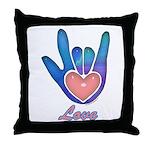 Blue Glass Love Hand Throw Pillow