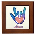 Blue Glass Love Hand Framed Tile