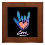 Blue Glass Love Hand Black Framed Tile