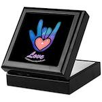 Blue Glass Love Hand Black Keepsake Box
