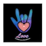 Blue Glass Love Hand Black Tile Coaster