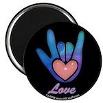 Blue Glass Love Hand Black Magnet