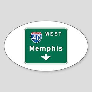 Memphis, TN Highway Sign Oval Sticker
