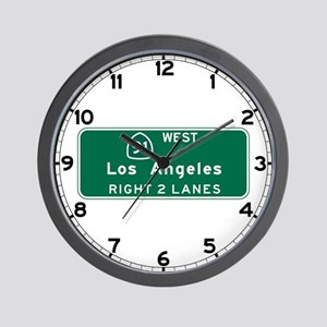 Los Angeles, CA Highway Sign Wall Clock