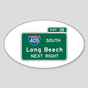 Long Beach, CA Highway Sign Oval Sticker